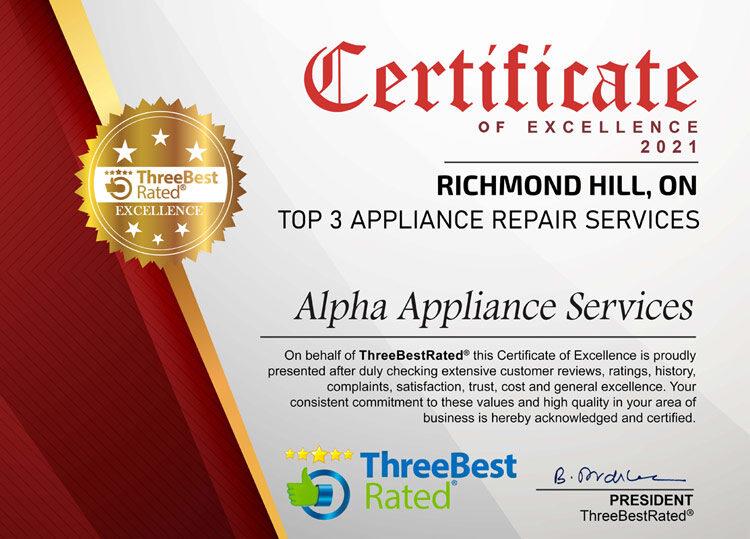 Threebest Rated Alpha Appliance Services Richmondhill Certificate 2021